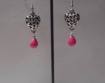 Earrings 3 D heart and Pearl fuchsia howlite