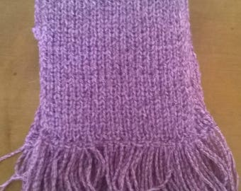 Wool scarf for woman with fringes