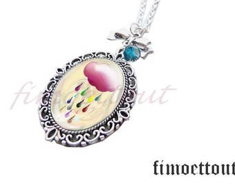 NECKLACE glass cabochon, oval, with charm noeudnuage colorful rain