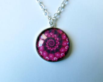 Necklace fuchsia and black spiral - trendy necklace