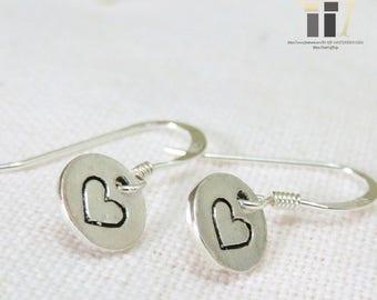 Vintage 925 Silver Earrings, 925 Silver, Silver, Earrings, Pierce, Heart, Vintage, Simple, Accessories, Jewelry