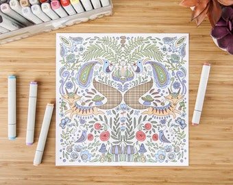Fox Colouring Page