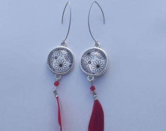 Silver earrings with glass cabochon and Red Feather dangle earrings