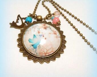 "Necklace cabochon ""My beautiful Blue Bird"""