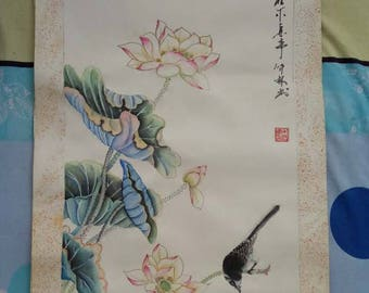 """A very large one of a kind (108.5CM by 40CM) Chinese art of a water lily with a kingfisher meaning """"have faith"""""""