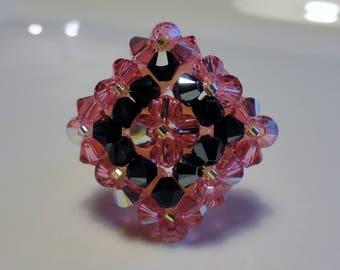 Diamond ring handmade pink and black beads with Swarovski crystals
