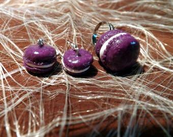 Set dangling earrings + ring adjustable purple polymer clay macaron