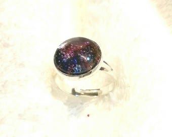 Ring cabochon with colorful micro beads