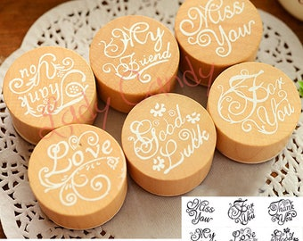Set of 6 stamps Scrapbooking embellishments, Cardmaking #4093 wood