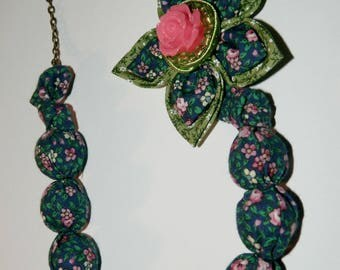 Necklace ball and flower in liberty fabric, blue-green-pink tones