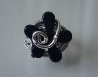 Ring Navy blue flower and diamond silver aluminum wire, wedding, spring