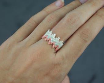Mint and pink peyote stitch ring