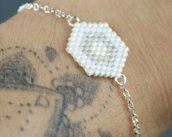 Hexagon white and clear bracelet with 925 sterling silver chain