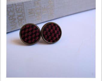 Stud Earrings black and Red checkered fabric
