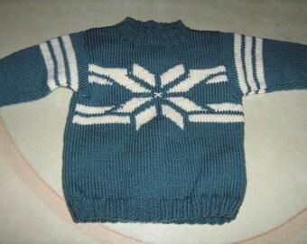 "Jacquard knitted ""snow"" nine handmade sweater"