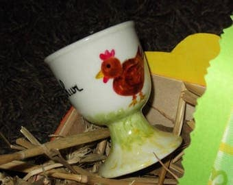 hand painted egg Cup ' Brown hen ' porcelain