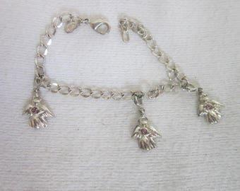 Vintage Premier Designs Charm Bracelet with Angel Charms with Rhinestones