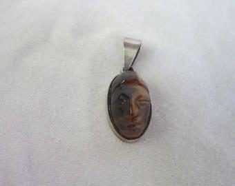 Sterling Silver & Carved Tiger Eye Stone Pendant Carved Head Artist Signed