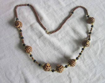 60's Retro Striped Wooden Ball Beaded Necklace
