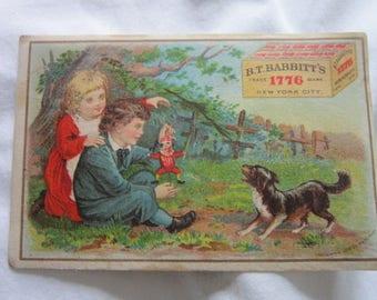 C 1885 Antique Victorian Trade Card B T Babbitt's Soap Children & Dog