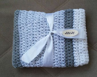 Crocheted baby blanket - gray and white