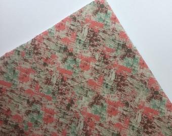 Blush and Teal - Custom Print Fabric Felt - 8x11 Sheet - Fabric Felt