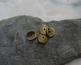4 beads, spacer, antique bronze metal 5mm wide