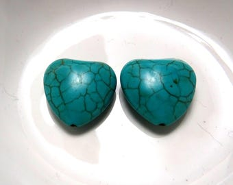 18mm 2 heart turquoise howlite beads ideal for creating