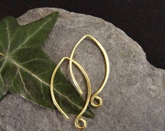 1 pair (2 pieces) medium average earring hoop to add a stone or a brushed brass charm
