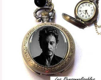 Watch FOB necklace on chain Johnny Hallyday