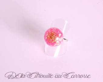 Iridescent pink ball, gold filigree flower ring