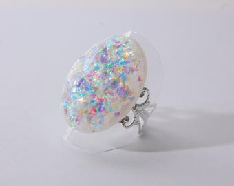 DEFI JUIN : MARIAGE Bague fausse opale, blanc iridescent