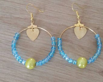 Hoop earrings gold turquoise and yellow