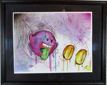 Nintendo Super Mario Boo Ghost Watercolor Art Print