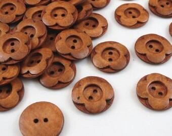Buttons, flowers, Brown, diameter 15mm