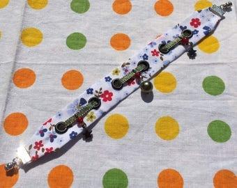 """Garden Party"" - style ""Liberty"" floral Ribbon Bracelet / charm"