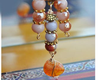 Orange pink and salmon agate faceted beads pendant