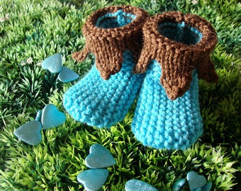Booties for baby - Pixie - turquoise/Brown - size 0-3 months