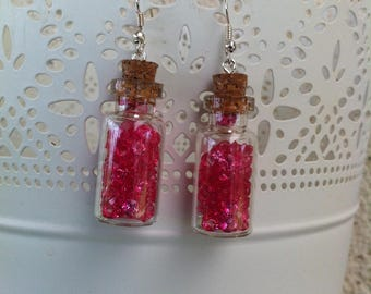 Earrings glass bottle filled with sparkly fuchsia faceted beads