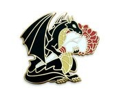 Dragon Pin, Rose Pin, Flower Pin, Hard Enamel Pin, Valentines Pin, Valentine's Pin, Anniversary Gifts, Black Dragon, Dragon Button