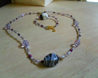 set (necklace and bracelet) original, colorful, (purple and white)
