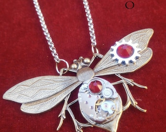 Red steampunk entomologist necklace - steampunk - steampunk Firefly - moth - mechanical Dragonfly - Dragonfly necklace dragonfly