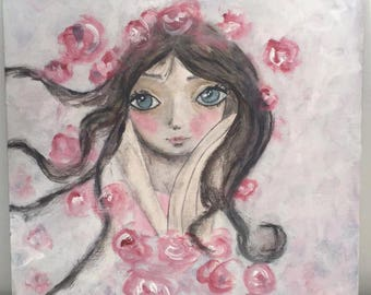 """Table decor shabby chic """"Lady in the wind and pink roses hair"""""""