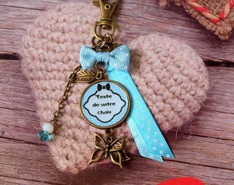 Keychain personalized Butterfly personalized with text or photo of your choice. Blue