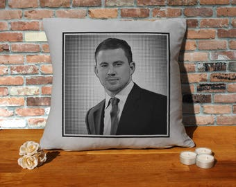 Channing Tatum Pillow Cushion - 16x16in - Grey