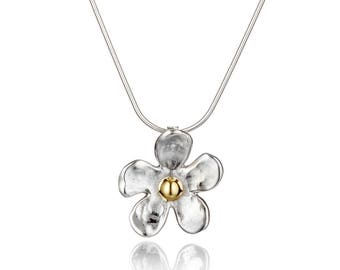 Gold and Silver Daisy Hammered Pendant