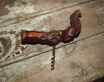 Vintage French Wooden Grape Vine Corkscrew,Rustic,Kitchen,Wine,Bottle Opener,Bar ware,Gift,Party