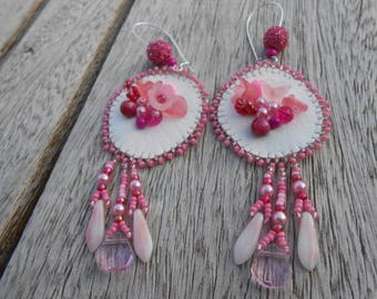 """Embroidered earrings beaded """"I see life in pink"""""""