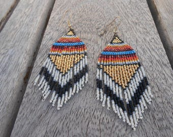 "Earrings woven beaded ""Indian summer"""