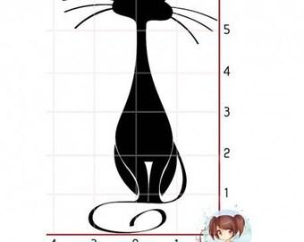 """Black cat"" motif rubber stamp mounted on foam"